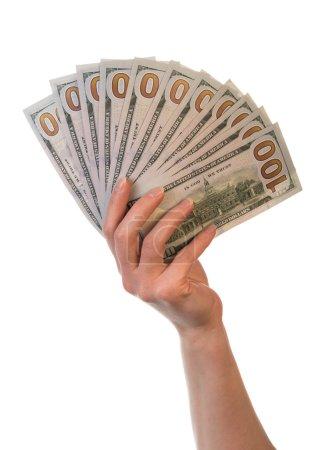 Dollar bills in hand