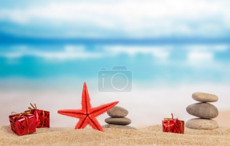 Photo for Summer holiday or vacation concept on sandy beach - Royalty Free Image