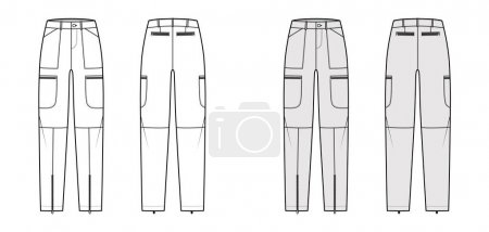 Set of Parachute pants technical fashion illustrat...
