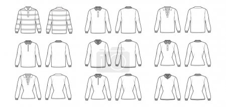 Illustration for Set of Polo Shirts technical fashion illustration with long sleeves, tunic length, henley neck, fitted oversized body, classic collar. Apparel top outwear template front, back, white color. Women CAD - Royalty Free Image