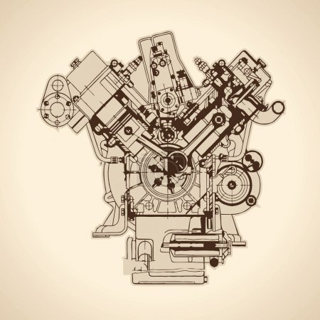 Old internal combustion engine, drawing. Vector...