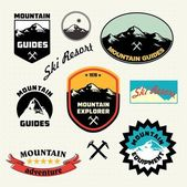 Mountain labels set Mountain climbing Ski Resort logo and icon collection