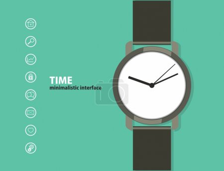 Illustration for Time. Minimalistic Web and mobile interface template. with a wristwatch and a set of icons. flat design. - Royalty Free Image