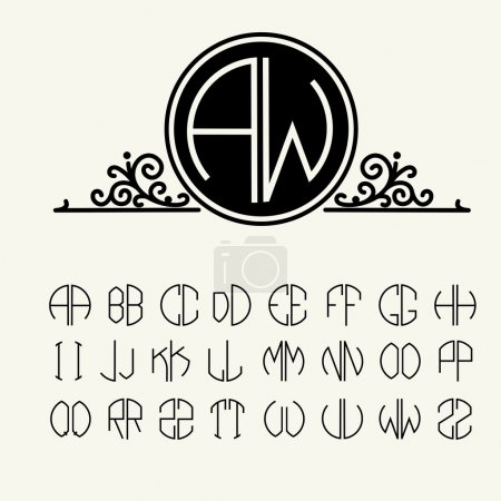 Set of template letters to create monograms