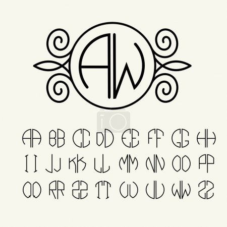 Illustration for Set of template letters to create monograms of two letters inscribed in a circle in Art Nouveau style - Royalty Free Image