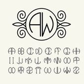 Set of template letters to create monograms of two letters inscribed in a circle in Art Nouveau style