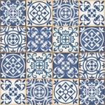 Gorgeous seamless patchwork pattern from dark blue...