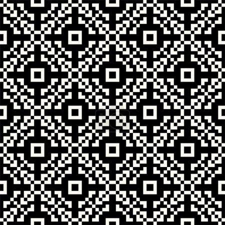 Black and white pixel seamless pattern