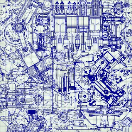 Illustration for Creative seamless pattern made up of drawings of old motors, on graph paper. Can be used for wallpaper, pattern fills, web page background, surface textures. - Royalty Free Image