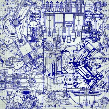 Illustration pour Motif créatif sans couture composé de dessins de vieux moteurs, sur papier graphique. Peut être utilisé pour le papier peint, remplissage de motifs, fond de page Web, textures de surface . - image libre de droit