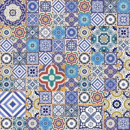 Illustration for Mega Gorgeous seamless patchwork pattern from colorful Moroccan tiles, ornaments. Can be used for wallpaper, pattern fills, web page background, surface textures. - Royalty Free Image
