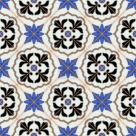 Illustration for Gorgeous seamless  pattern from dark blue and white Moroccan, Portuguese  tiles, Azulejo, ornaments. Can be used for wallpaper, pattern fills, web page background,surface textures. - Royalty Free Image