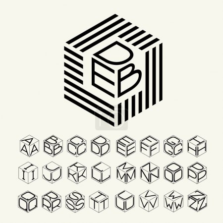 Illustration for Modern monogram cube, hexagon of the strips, and three letters inscribed. Plus a set of letters to create the logo. - Royalty Free Image