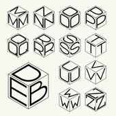 Set 2 template of the letters inscribed in the three sides of the cube hexagon  To create monograms logos and emblems