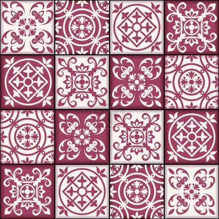 Illustration for Gorgeous seamless patchwork pattern from dark red and white Moroccan tiles, ornaments. Can be used for wallpaper, pattern fills, web page background,surface textures. - Royalty Free Image