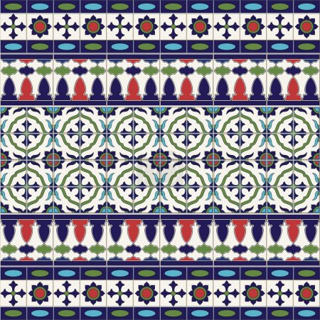 Illustration for Gorgeous seamless  pattern from tiles and border. Moroccan, Portuguese, Azulejo ornaments. Can be used for wallpaper, pattern fills, web page background,surface textures. - Royalty Free Image