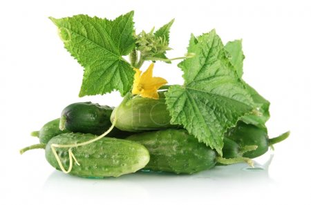 Many fresh raw cucumbers with flower isolated on white