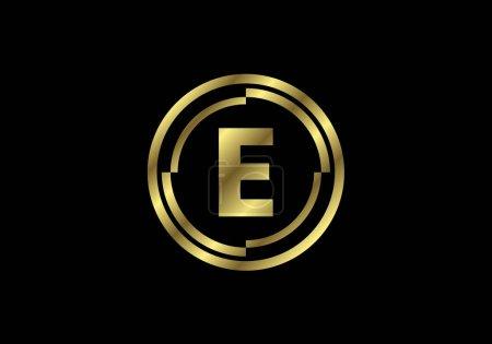 Illustration pour Lettres dorées E avec cadres en cercle doré. Alphabet anglais, illustration vectorielle - image libre de droit