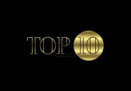 Illustration pour Top dix et le meilleur du meilleur rang. Top 10 des signes d'or pour les vidéos musicales ou autres contenus, Illustration vectorielle - image libre de droit