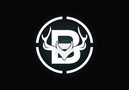 Illustration pour Lettre B avec bois de cerf en forme de cible, modèle vectoriel de conception de logo de style plat, symbole d'inspirations de chasse pour l'identité d'entreprise - image libre de droit