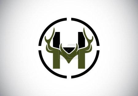 Illustration pour Lettre H avec bois de cerf en forme de cible, modèle vectoriel de conception de logo de style plat, symbole d'inspirations de chasse pour l'identité d'entreprise - image libre de droit