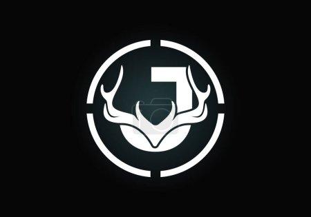 Illustration pour Lettre J avec bois de cerf en forme de cible, modèle vectoriel de conception de logo de style plat, symbole d'inspirations de chasse pour l'identité d'entreprise - image libre de droit