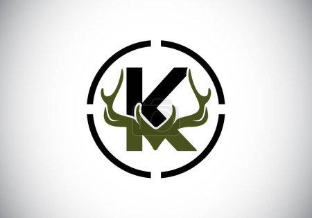 Illustration pour Lettre K avec bois de cerf en forme de cible, modèle vectoriel de conception de logo de style plat, symbole d'inspirations de chasse pour l'identité d'entreprise - image libre de droit