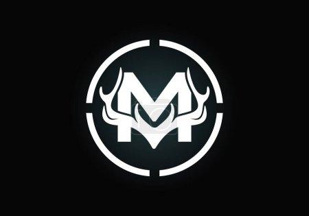 Illustration pour Lettre M avec bois de cerf en forme de cible, modèle vectoriel de conception de logo de style plat, symbole d'inspirations de chasse pour l'identité d'entreprise - image libre de droit