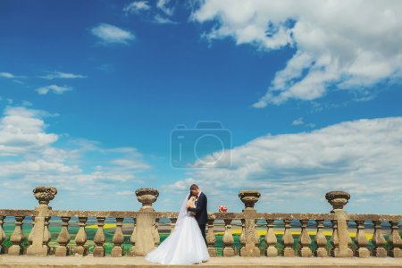Gentle beautiful bride and groom holding hands kissing near the