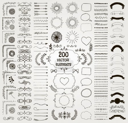 Illustration for Set of 200 Black Hand Drawn Doodle Design Elements. Rustic Decorative Line Borders, Florals, Dividers, Arrows, Swirls, Scrolls, Ribbons, Banners, Frames Corners Objects. Vector Illustration - Royalty Free Image