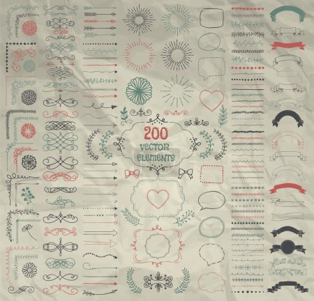 Illustration for Set of 200 Hand Drawn Doodle Design Elements. Rustic Decorative Line Borders, Dividers, Arrows, Swirls, Scrolls, Ribbons, Banners, Frames Corners Objects on Crumpled Paper. Vector Illustration - Royalty Free Image