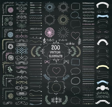 Illustration for Set of 200 Hand Drawn Doodle Design Elements. Rustic Decorative Line Borders, Dividers, Arrows, Swirls, Scrolls, Ribbons, Banners, Frames Corners Objects on Chalkboard Taxture. Vector Illustration - Royalty Free Image