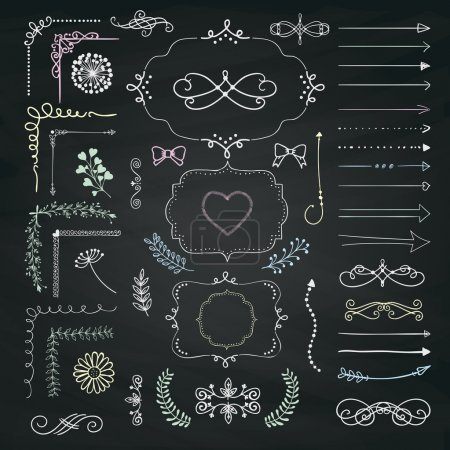 Set of Vector Decorative Hand Drawn Design Elements
