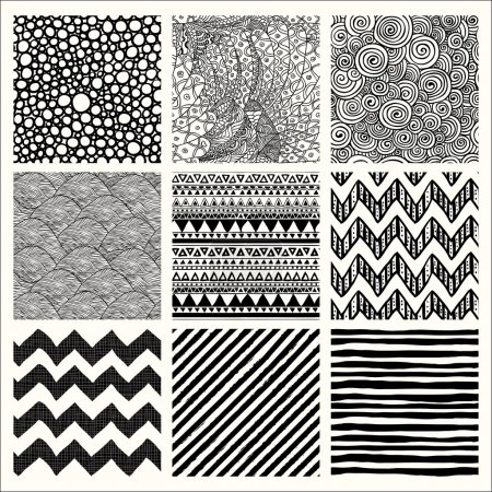 Illustration for Set of Nine Abstract Hand Drawn Geometric Black and White Seamless Background Patterns. Fully Editable EPS file with Pattern Swatches - Royalty Free Image