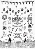 Set of Black and White Hand-drawn Outlined Christmas Doodle Icons Xmas Vector Illustration Text Lettering Party Elements Cartoons