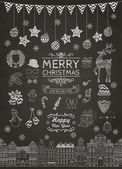 Set of Hand-drawn Outlined Christmas Doodle Icons on Chalkboard Texture Xmas Vector Illustration Text Lettering Party Elements Cartoons