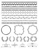 Hand-Drawn Doodle Seamless Borders and Design Elements Decorative Flourish Frames Brackets Vector Illustration Pattern Brushes