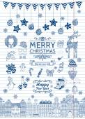 Set of Hand-drawn Outlined Christmas Doodle Icons Xmas Vector Illustration Striped Paper Texture Party Elements Cartoons
