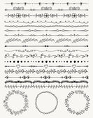 Collection of Black Artistic Seamless Hand Sketched Decorative Doodle Vintage Borders and Frames Design Elements Hand Drawn Vector Illustration