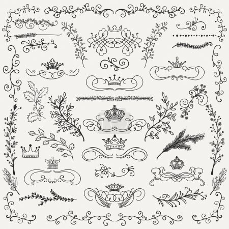 Illustration for Hand Drawn Artistic Black Doodle Design Elements. Decorative Floral Crowns, Dividers, Branches, Swirls, Wreaths. Vintage Hand Sketched Vector Illustration. Pattern Brashes - Royalty Free Image