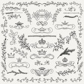 Vector Black Hand Drawn Floral Design Elements Crowns