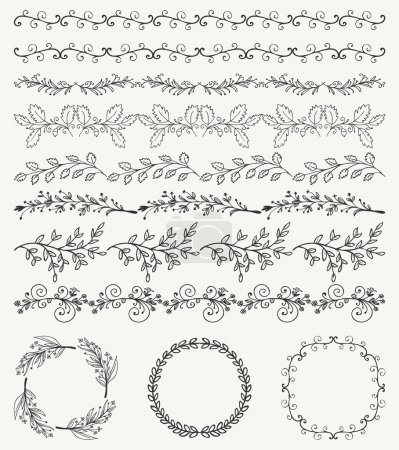 Illustration for Collection of Black Artistic Seamless Hand Sketched Decorative Doodle Vintage Borders and Frames. Design Elements. Hand Drawn Vector Illustration. Pattern Brashes - Royalty Free Image