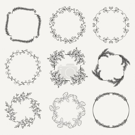 Vector Black Hand Sketched Floral Frames, Borders