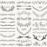 Set of Hand Drawn Black Doodle Design Elements. De...