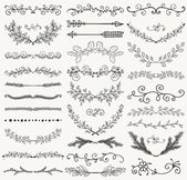 Set of Hand Drawn Black Doodle Design Elements Decorative Floral Dividers Arrows Swirls Laurels and Branches Vintage Vector Illustration Pattern Brashes