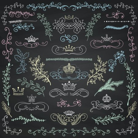 Illustration for Chalk Drawing Artistic Colorful Doodle Design Elements. Decorative Floral Crowns, Dividers, Branches, Swirls, Wreaths. Vintage Hand Sketched Vector Illustration. Chalkboard Texture. Pattern Brushes - Royalty Free Image