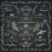 Vector Chalk Drawing Floral Design Elements Crowns