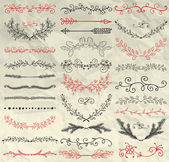 Set of Hand Sketched Doodle Design Elements Decorative Floral Dividers Arrows Swirls Laurels and Branches on Crumpled Paper Texture Pen Drawing Vintage Vector Illustration Pattern Brushes