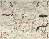 Hand Sketche Doodle Design Elements on Crumpled Paper