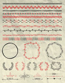 Set of Hand Sketched Doodle Seamless Borders Decorative Floral Dividers Arrows Swirls and Branches on Crumpled Paper Texture Pen Drawing Vector Illustration Pattern Brushes Design Elements